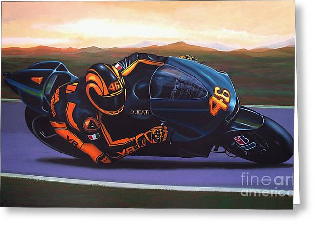 Valentino Rossi On Ducati Greeting Card by Paul Meijering