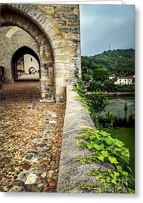 Valentre Bridge In Cahors France Greeting Card by Elena Elisseeva