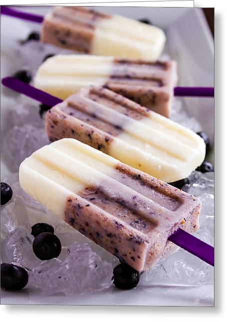 Vanilla And Blueberry Popsicles Greeting Card
