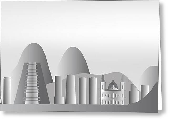 vector Rio de Janeiro skyline Greeting Card by Michal Boubin