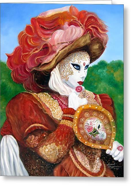 Venetian Rhapsody In Red Greeting Card by Leonardo Ruggieri