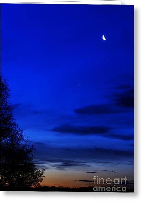 Venus And Moon  Greeting Card by Thomas R Fletcher