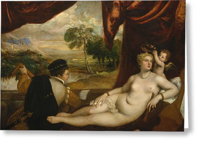 Venus And The Lute Player Greeting Card by Titian