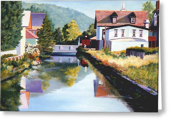 Greeting Card featuring the painting View Along The Canal by Robert Henne