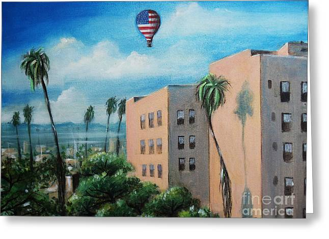 Greeting Card featuring the painting View From Olympic Boulevard by S G