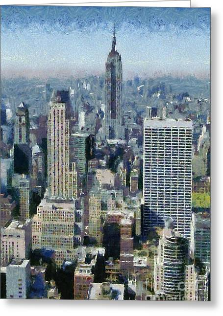 View Of Manhattan From Observation Deck At Rockefeller Building Greeting Card