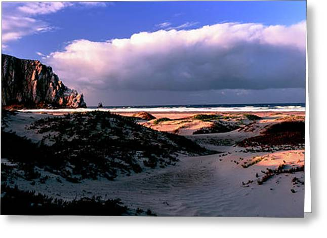 View Of Sand Dunes And The Morro Rock Greeting Card