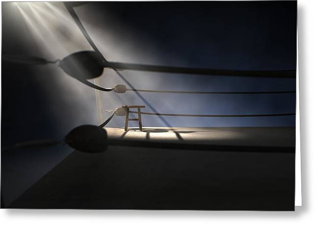 Vintage Boxing Corner And Stool Greeting Card by Allan Swart
