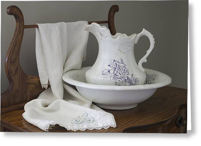 Vintage China Pitcher And Bowl Greeting Card by MM Anderson