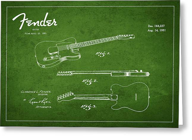 Vintage Fender Guitar Patent Drawing From 1951 Greeting Card by Aged Pixel
