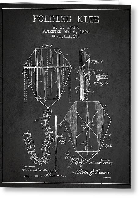 Vintage Folding Kite Patent From 1892 Greeting Card