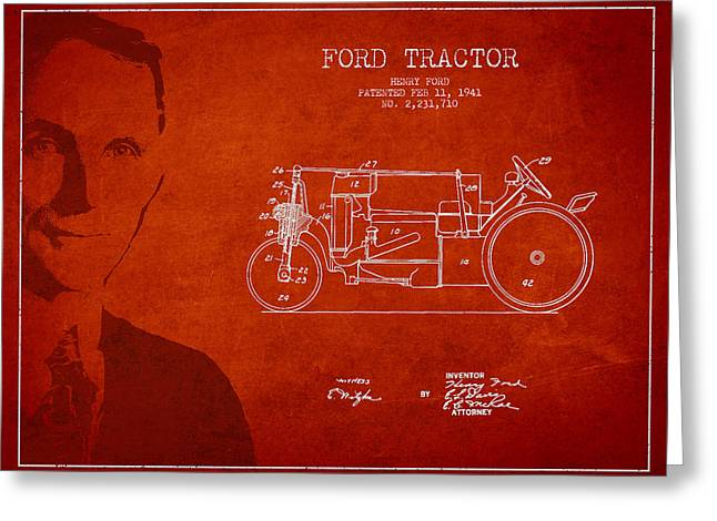Vintage Ford Tractor Patent Drawing From 1941 Greeting Card by Aged Pixel