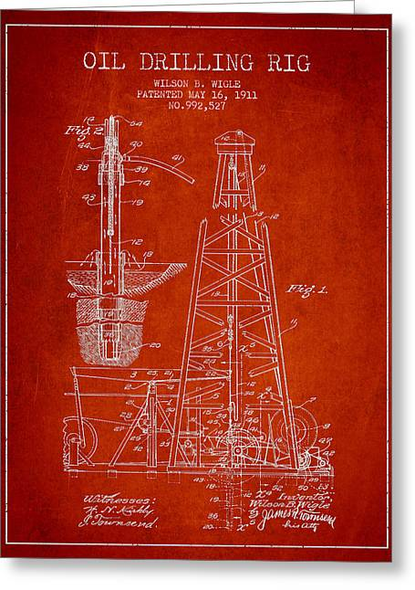 Vintage Oil Drilling Rig Patent From 1911 Greeting Card