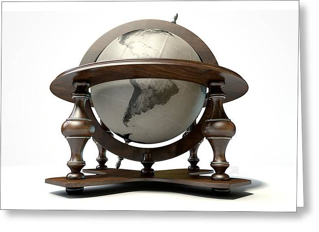 Vintage Wooden World Globe Greeting Card by Allan Swart