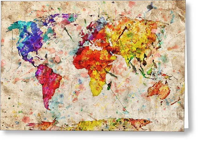 Vintage World Map Greeting Card by Michal Bednarek