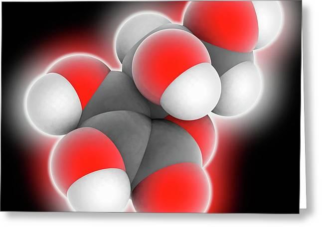 Vitamin C Ascorbic Acid Molecule Greeting Card by Laguna Design