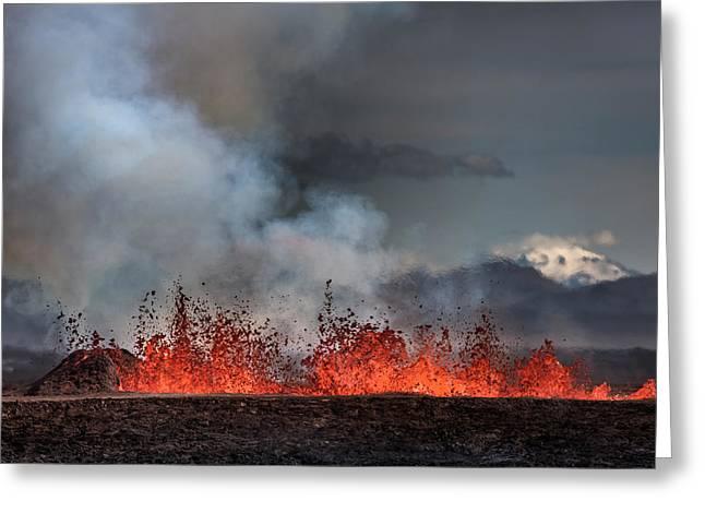 Volcano Eruption At The Holuhraun Greeting Card