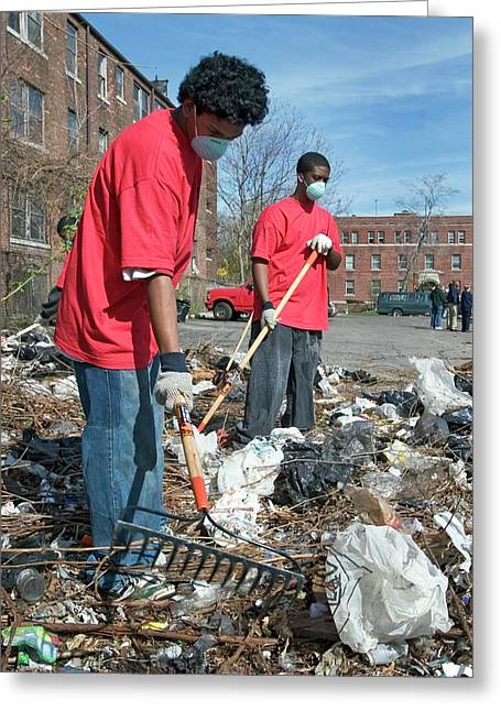 Volunteers Clearing Rubbish Greeting Card