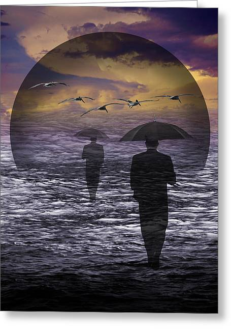 Walking Into A Sea Of Change Greeting Card