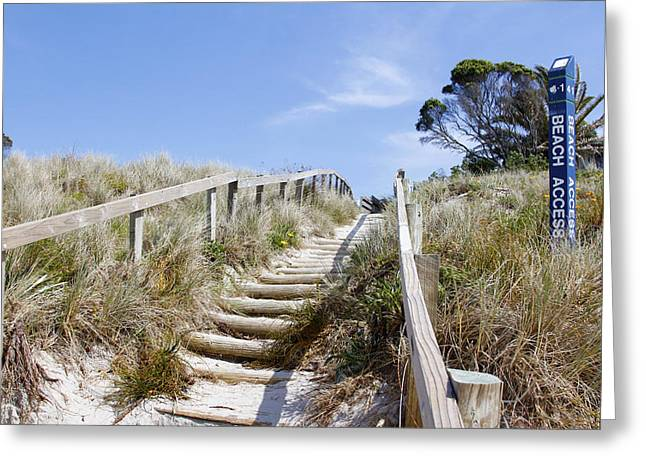 Walkway To Beach Greeting Card by Les Cunliffe