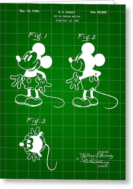 Walt Disney Mickey Mouse Patent 1929 - Green Greeting Card