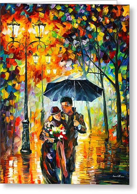 Warm Night Greeting Card by Leonid Afremov