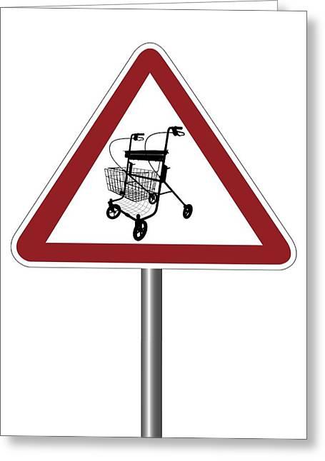 Warning Sign With Walking Frame Symbol Greeting Card by Alfred Pasieka
