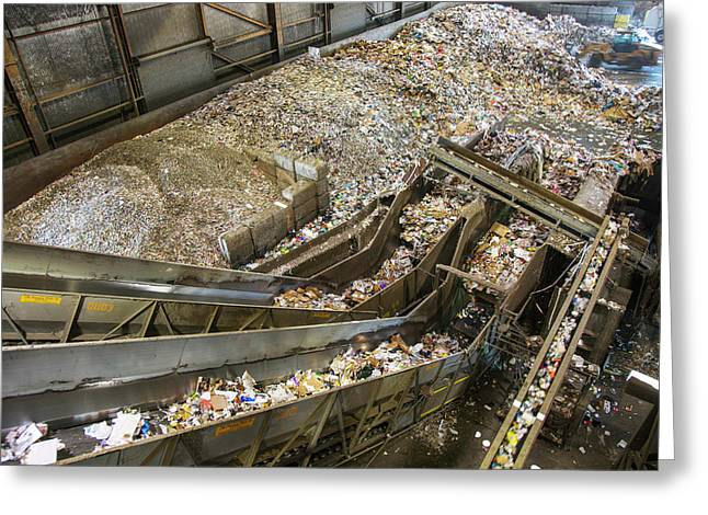 Waste Sorting At A Recycling Centre Greeting Card