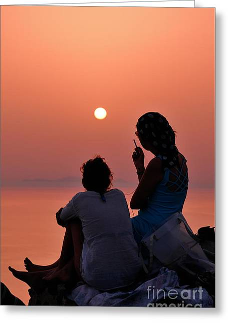 Watching The Famous Sunset In Oia Greeting Card