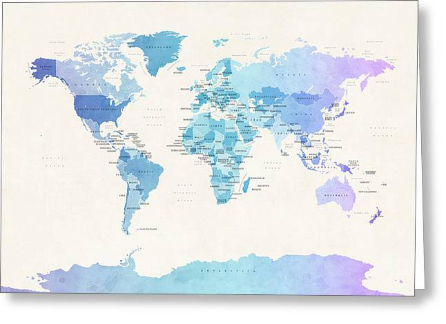 Watercolour Political Map Of The World Greeting Card