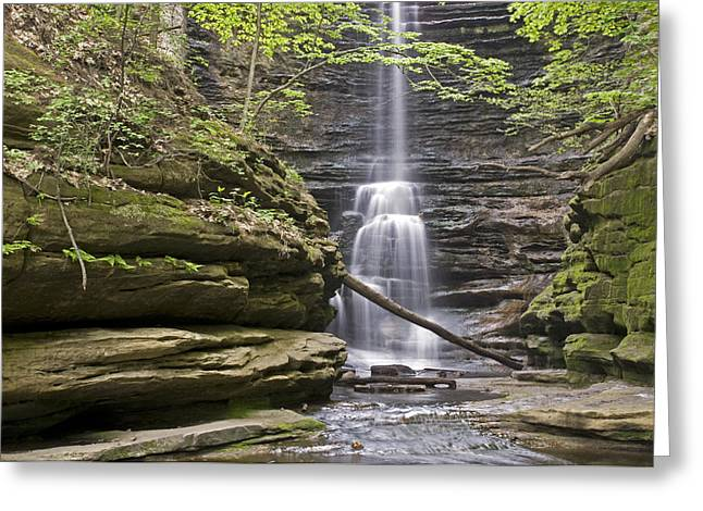 Waterfall At Matthiessen State Park Greeting Card