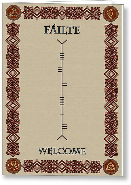 Welcome Written In Ogham Greeting Card