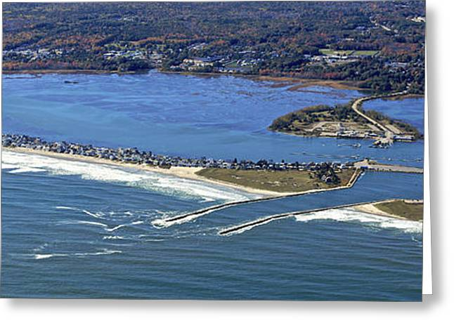 Wells Beach And Wells Harbor, Wells Greeting Card