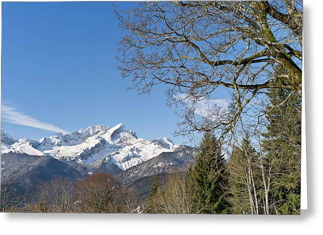 Wetterstein Mountain Range In Winter Greeting Card