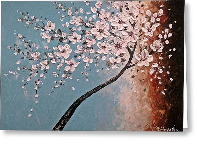 White Blossoms Greeting Card by Tomoko Koyama