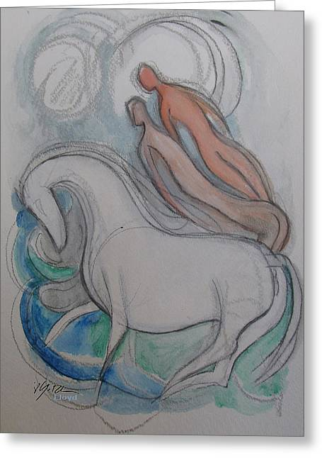 White Horse Lovers Greeting Card