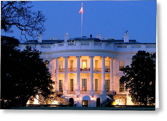 White House Greeting Card by Mitch Cat