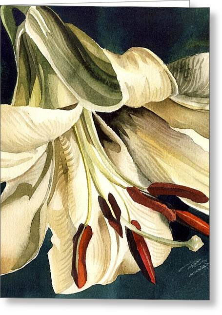 White Lily Greeting Card by Alfred Ng