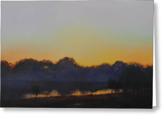 Greeting Card featuring the painting White Rock Lake Dusk Sold by Cap Pannell