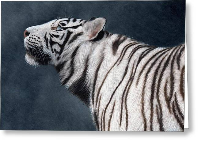 White Tiger Painting Greeting Card by Rachel Stribbling