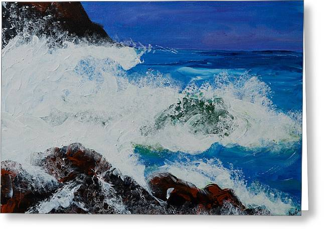 Greeting Card featuring the painting Wild Sea by Judi Goodwin