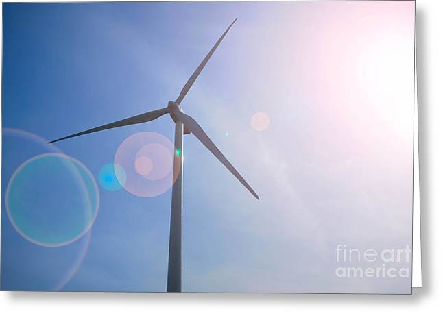 Wind Turbine Greeting Card by Amy Cicconi