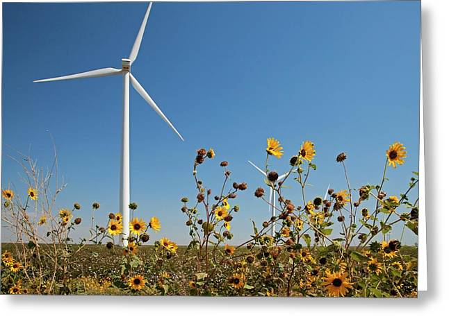 Wind Turbines Greeting Card by Jim West