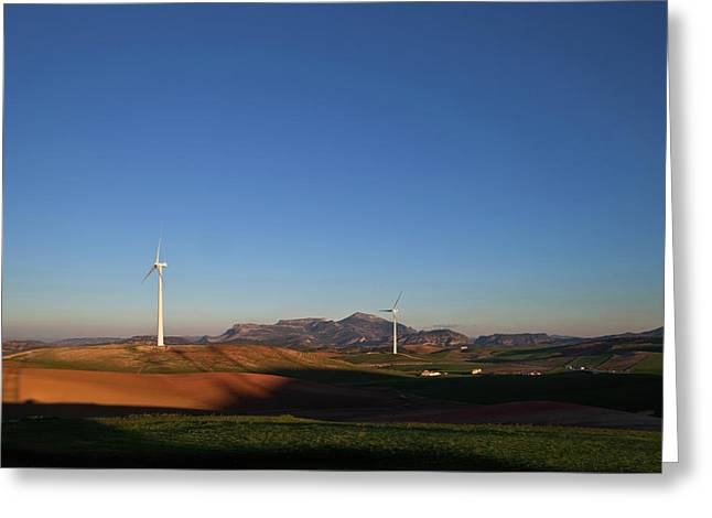 Windfarm Amidst Farmland Near Ardales Greeting Card by Panoramic Images