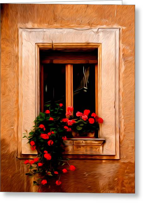Window And Flowers Rome Italy  Greeting Card by Xavier Cardell