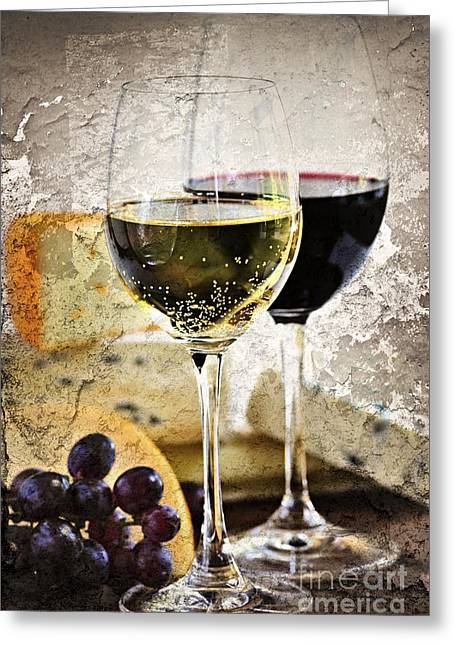 Wine And Cheese Greeting Card by Elena Elisseeva