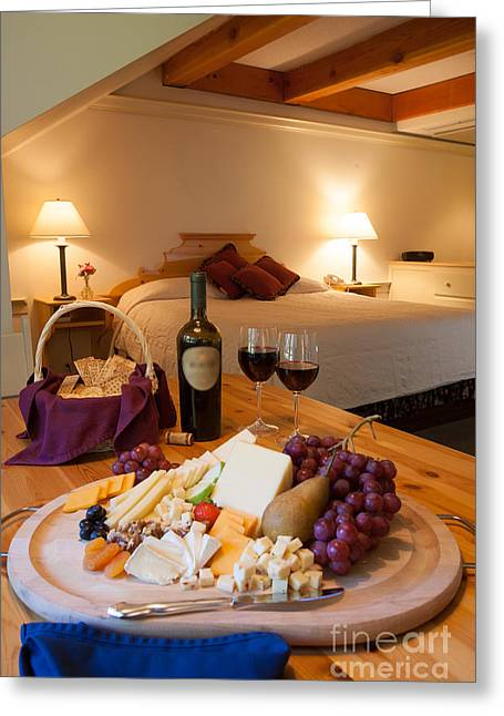 Wine And Cheese In A Luxurious Hotel Room. Greeting Card