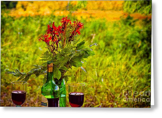 Wine And Flowers Greeting Card by Les Palenik