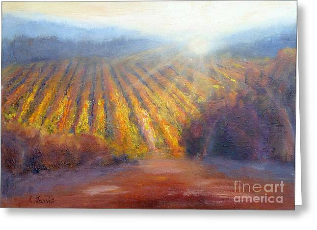Winery Light Greeting Card by Carolyn Jarvis
