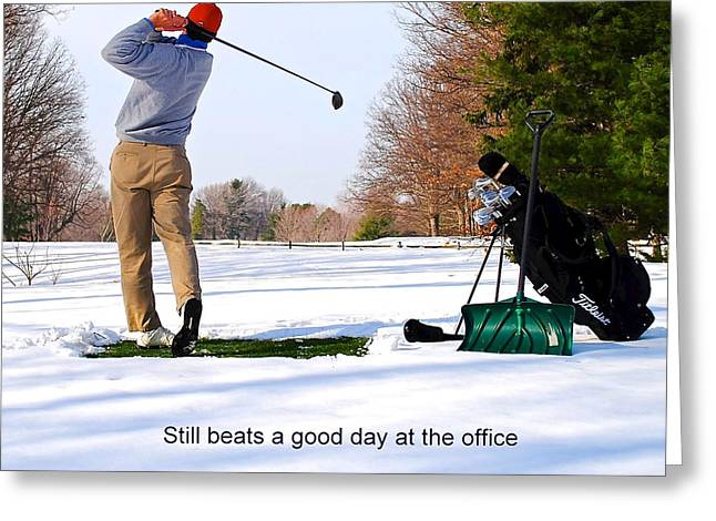 Winter Golf Greeting Card by Frozen in Time Fine Art Photography
